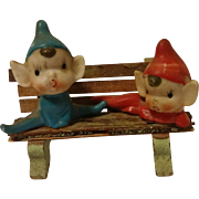 Two Little Porcelain Elves on a Bench Figurine Hand Painted