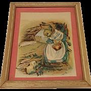Antique Mother Bunny Print Circa 1908