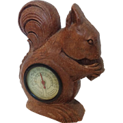 Syroco Wood Squirrel Thermometer Circa 1920's