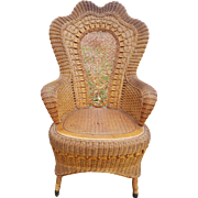 Fancy Antique Natural Victorian Wicker Arm Chair Circa 1890's