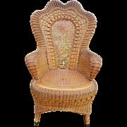 Fancy Antique Natural Victorian Wicker Arm Chair Circa 1890's