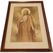 Vintage Religious Print The Sacred Heart Sepia Print by Charles Bosseron Chambers Circa 1933