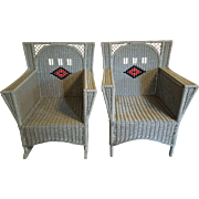Vintage Pair Art Deco Wicker Chair and Rocker  Circa 1920's