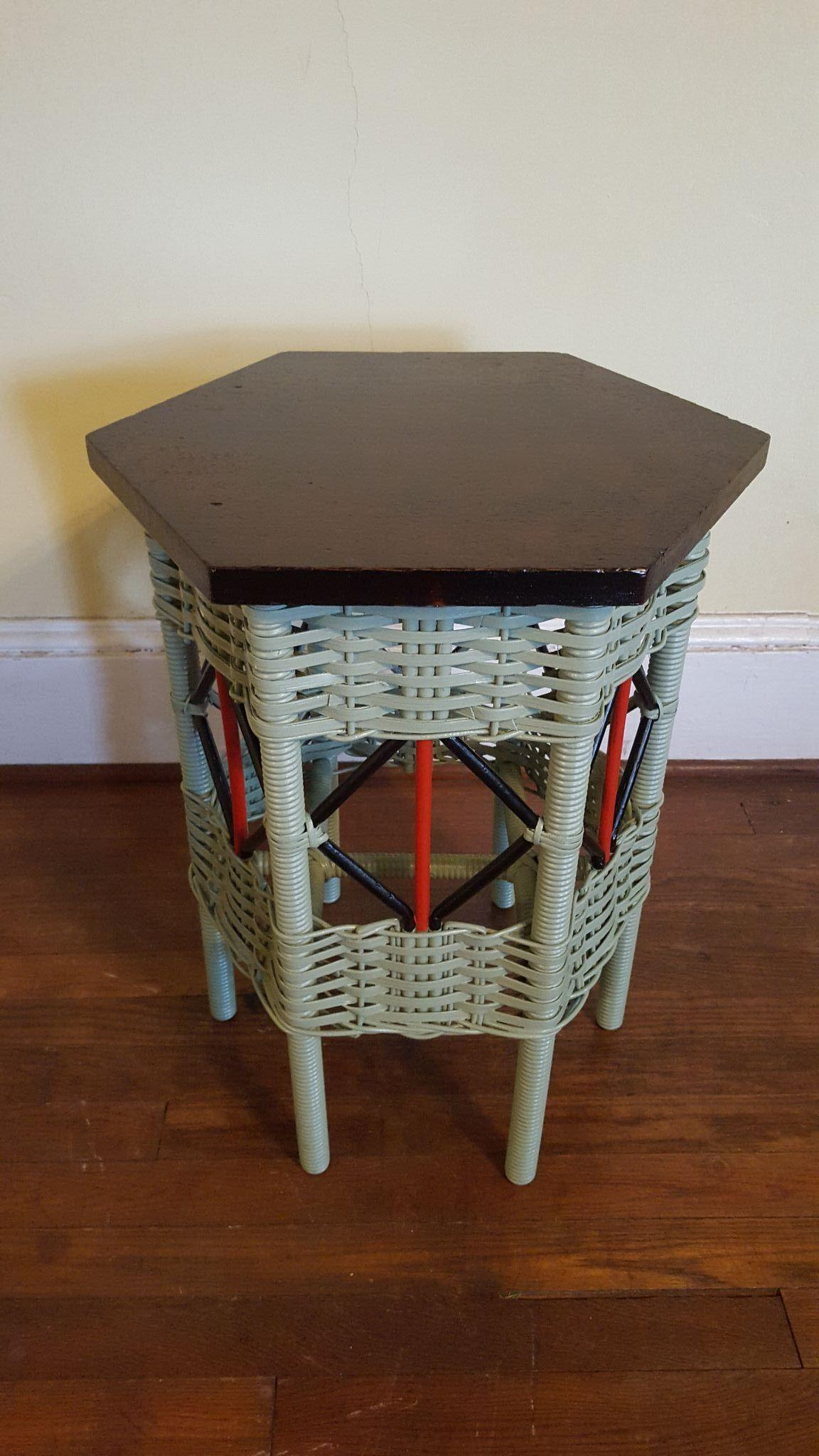 vintage hexagonal art deco wicker tabouret table circa 1920 39 s from dovetail on ruby lane. Black Bedroom Furniture Sets. Home Design Ideas