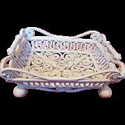 Antique Rare Ornate Victorian Wicker Basket Circa 1890's