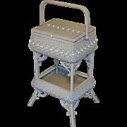 Antique Ornate Victorian Wicker Sewing Stand Circa 1890's