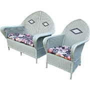 Vintage Matching Art Deco Wicker Settee and Arm Chair Circa 1920's