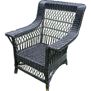 Large Vintage Bar Harbor Wicker Arm Chair Circa 1920's