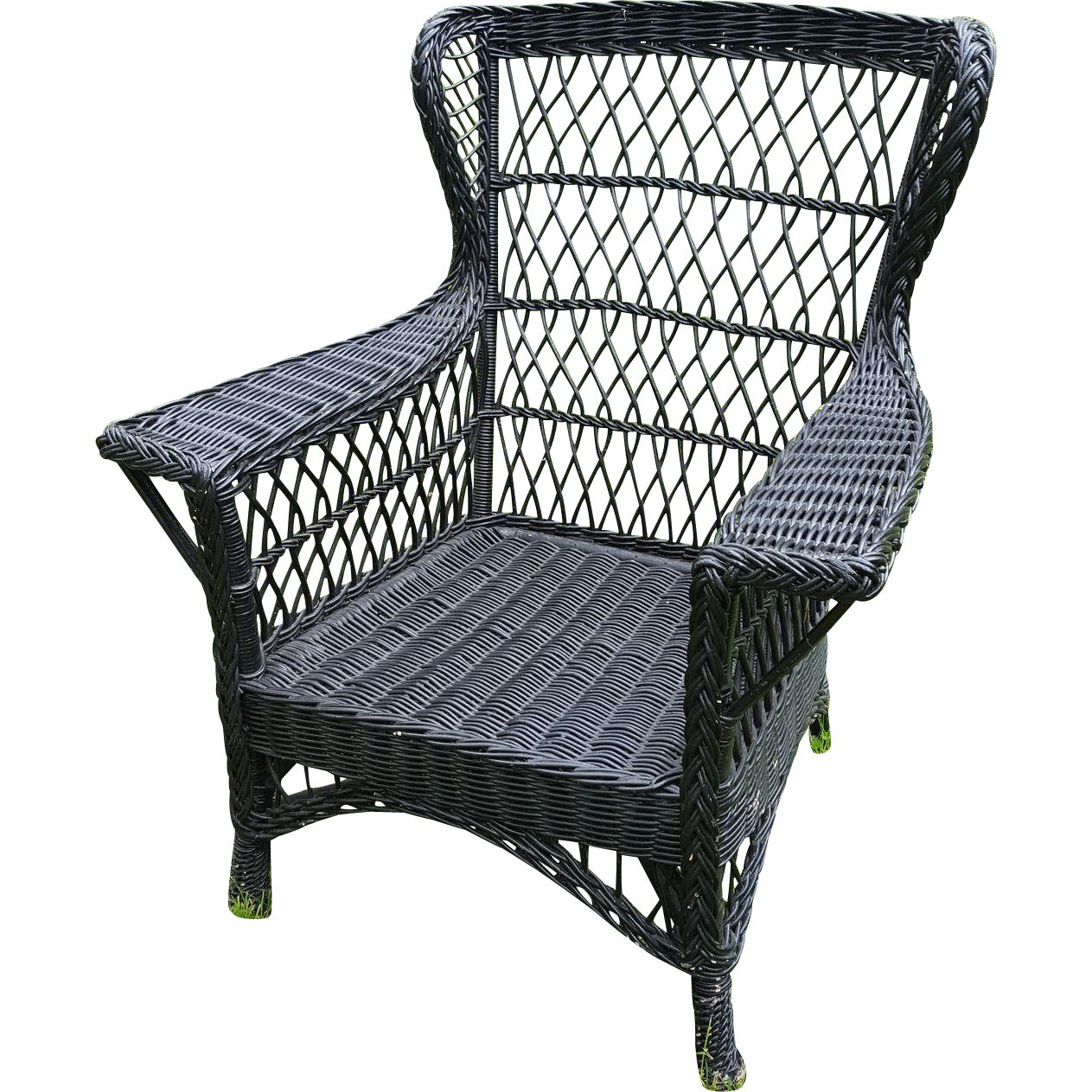 Large Vintage Bar Harbor Wicker Wing Back Arm Chair Circa