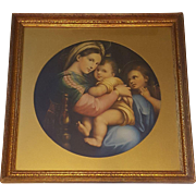 Large Vintage Lithograph Titled Madonna Della Sedia by Raphael Circa 1920's