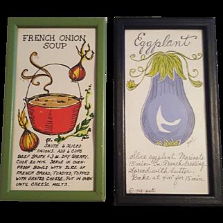 Vintage Kitchen Art Circa 1969 Eggplant and French Onion Soup