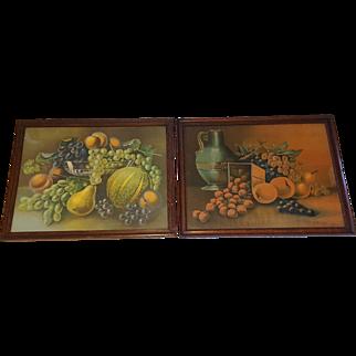 Pair of Large Antique Still Life Prints Luscious Fruits  Circa 1900