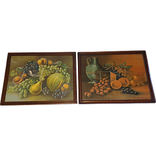 Pair of Large Antique Still Life Prints Luscious Fruits  Circa 1900
