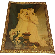 Large Antique Lithograph Sisters Praying  Circa 1900