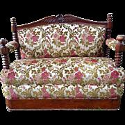 Antique Victorian Mahogany Settee Sofa Circa Mid 1800's