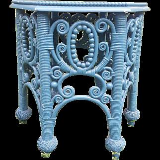 Rare Ornate Antique Victorian Wicker Tabouret Table Circa 1890's