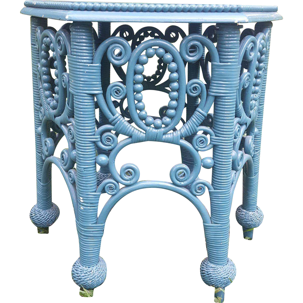Rare ornate antique victorian wicker tabouret table circa for Valuable antiques and collectibles