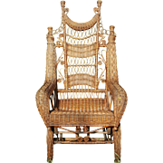 Antique Victorian Natural Wicker Platform Rocker Circa 1890's