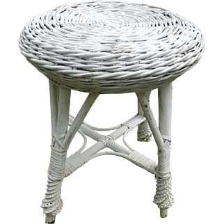 Vintage Bar Harbor Wicker Plant Stand or Footstool Circa 1920's