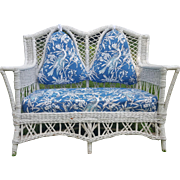 Shapely Vintage Bar Harbor Wicker Settee Circa 1920's
