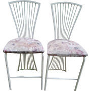 Vintage Matching Pair of Modern Chairs Metal with Upholstered Seats