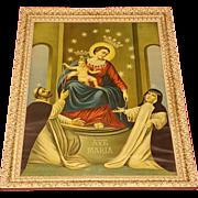 Vintage Madonna Del Rosario Di Pompeii Lithograph Circa 1920's