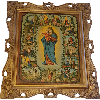 Antique Victorian Religious Lithograph Titled Our Lady of Rosary Circa 1900