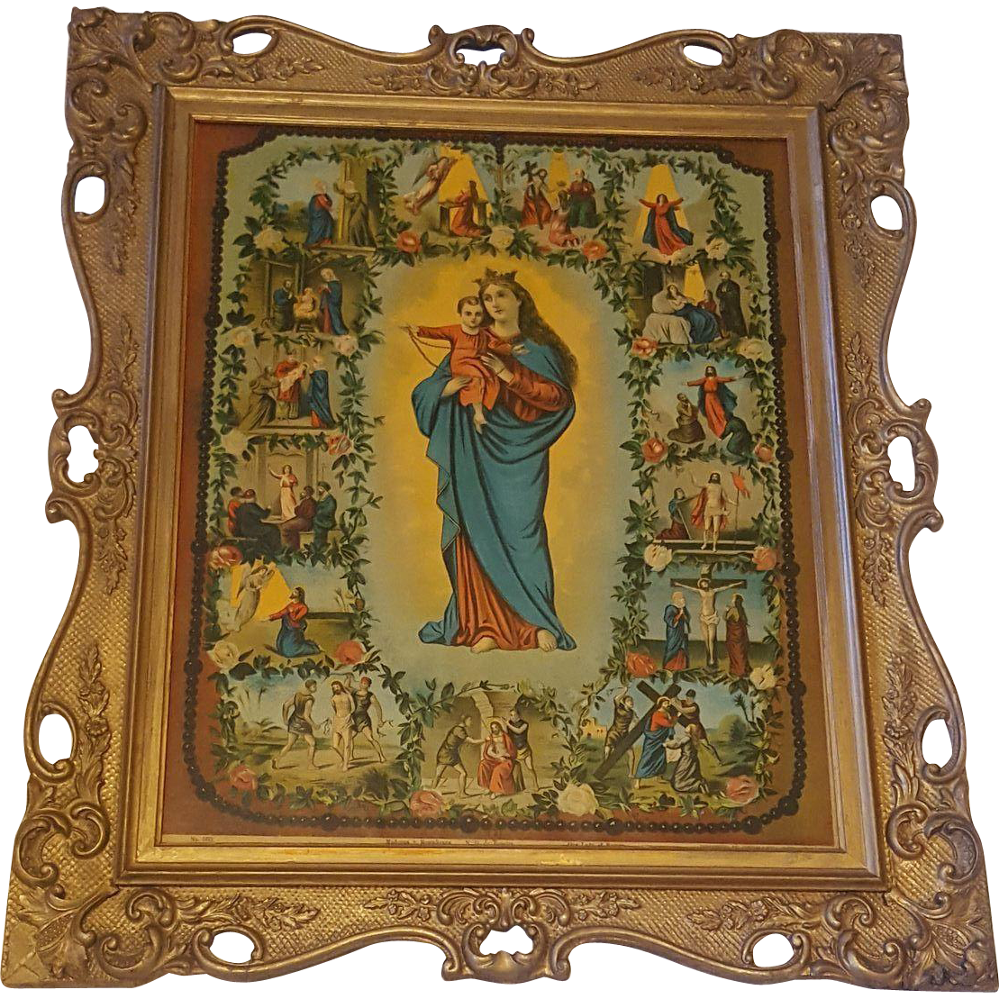 Antique Victorian Religious Lithograph Titled Our Lady Of