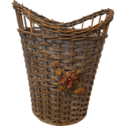 Vintage Wicker Basket with Barbola Flowers Gesso Circa 1920's