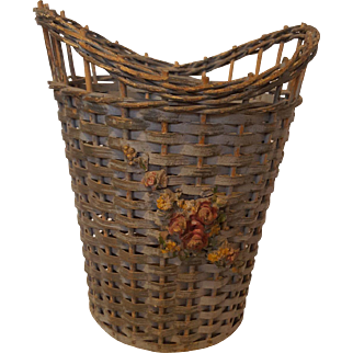 Vintage Wicker Basket with Barbola Flowers Gesso Circa 1920's