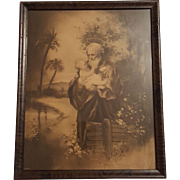 Antique Religious Print Saint Joseph with Infant Jesus  Circa 1910