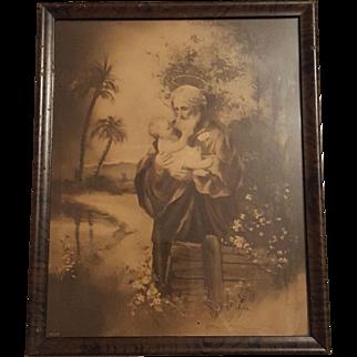 Antique Religious Print Saint Joseph with Infant Jesus  Circa 1910