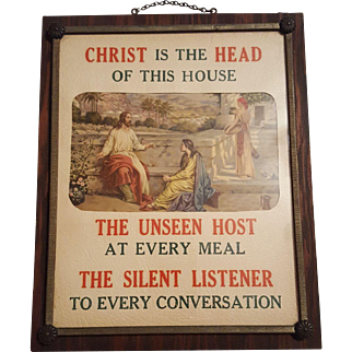 Christ Is The Head Of This House Religious Print Circa 1920's