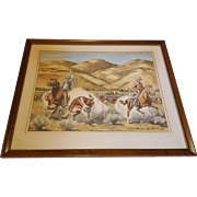 Vintage Cowboy Western Longhorn Steer Print by Howard E Smith