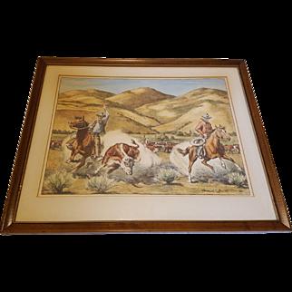 Vintage Cowboy Western Longhorn Steer Print by Howard E Smith