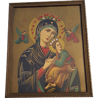 Antique Madonna and Child Lithograph with Jewels and Angels Circa 1910