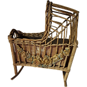Rare Antique Wicker Cradle with Applied Floral Gesso Circa 1910
