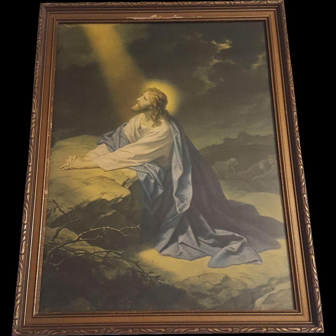 vintage religious print christ   garden  gethsemane