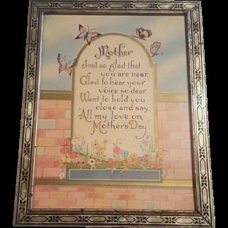 Vintage Mother Motto Circa 1920's