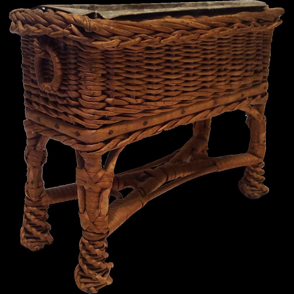 Rare Antique Salesman's Sample Wicker  Fernery  Circa 1910