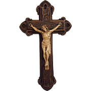 Antique Syroco and Metal Crucifix Circa 1910