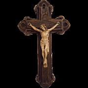 Antique Syroco and Metal Crucifix Circa 1910