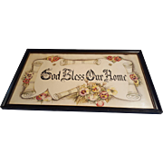 Vintage God Bless Our Home Hand Done Calligraphy and Pastel Painting Circa 1920's