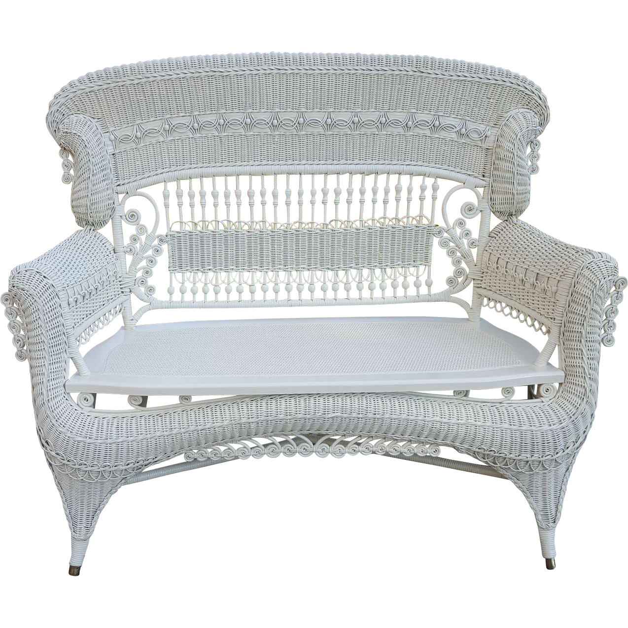 Rare Large Ornate High Back Victorian Wicker Settee Heywood Brothers and Wakefield Company Circa 1890's