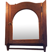 Shapely Antique Oak Medicine Cabinet with Beveled Mirror Circa 1900