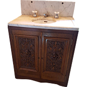 Antique Oak and Marble Sink and Custom Cabinet
