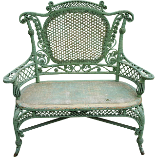 Ornate Early Victorian Wicker Settee Wakefield Rattan Company  Circa 1880's