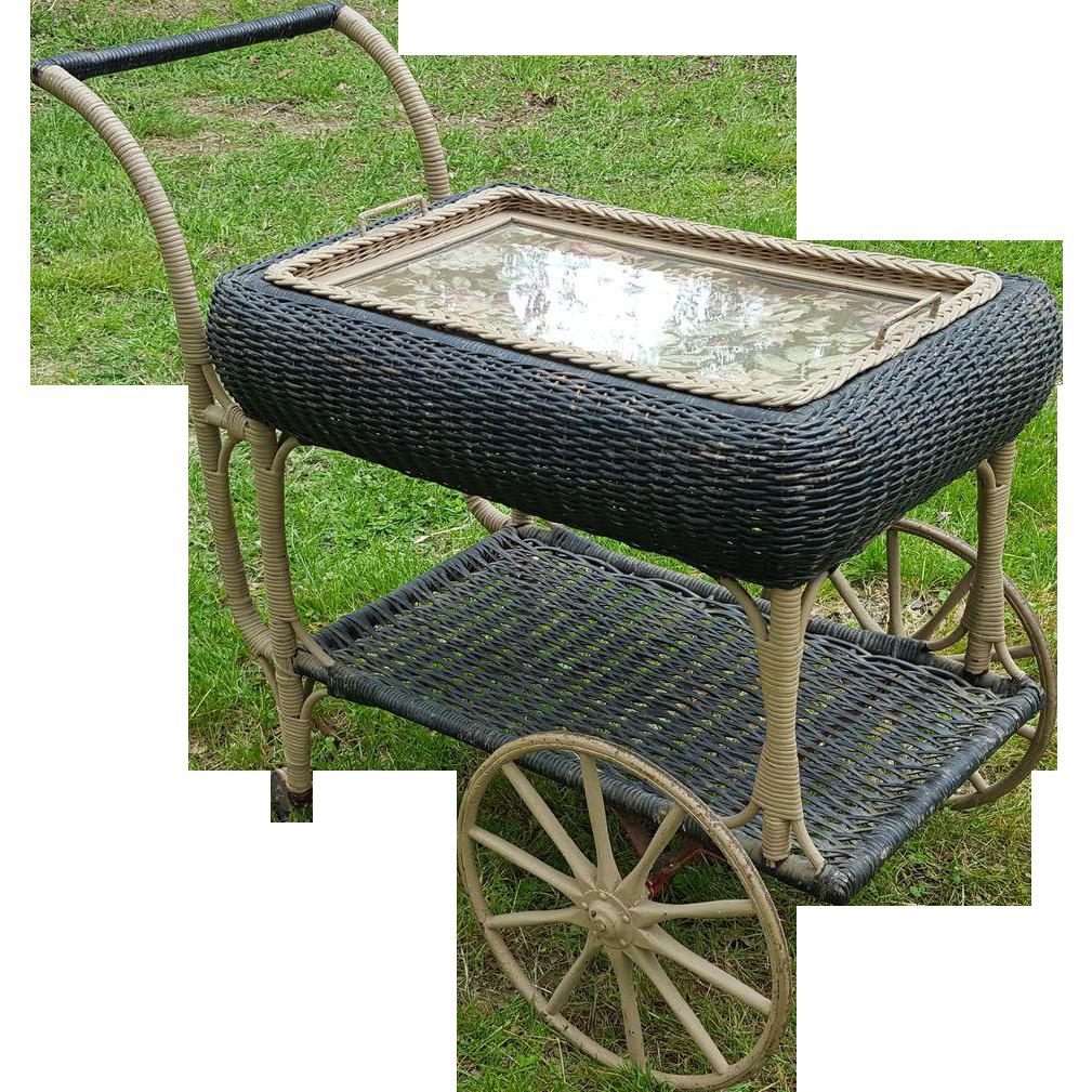 Vintage 1920's Wicker Tea Cart