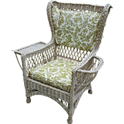 Vintage Bar Harbor Wicker Wing Chair with Magazine Pocket  Circa 1920's