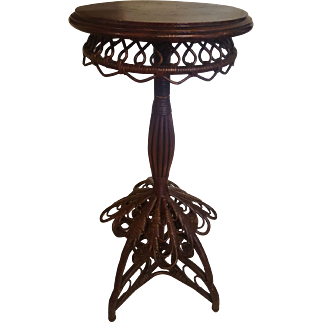 Very Rare and Ornate Natural Victorian Wicker Table Circa 1880's